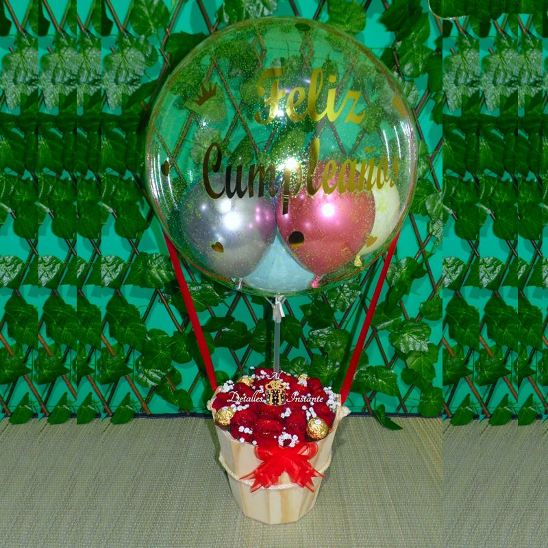 globo burbuja con rosas y chocolates