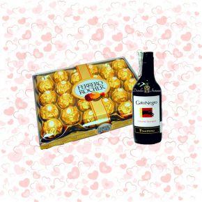 Ferrero Rocher grande y vino