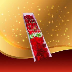 Caja de rosas rojas hermosa