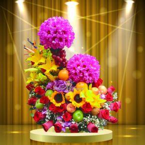 arreglo de flores ex¢tico para enamorar con frutas